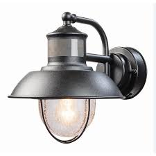 secure home nautical 9 4 in h matte black motion activated outdoor wall light