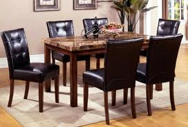 cute breathtaking granite top dining table furniture rectangle dark table and dining chairs with black leather