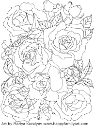 This set of printable flowers coloring pages is a place that can appeal to both boys and girls. Happy Family Art Original And Fun Coloring Pages Rose Coloring Pages Flower Coloring Pages Mandala Coloring Pages
