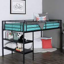 twin black metal low loft bed with desk