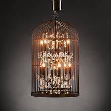 vintage rustic birdcage crystal chandelier lighting black bird pertaining to stylish property birdcage pendant light chandelier decor