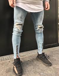 Light Blue Jeans Men S Style 2019 Hip Hop Motorcycle Biker Mens Jeans Men Designer Hole On Knee Light Blue Denim Pants Plus Size From Blueberry12 58 24 Dhgate Com