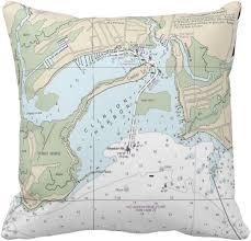 Clinton Harbor Ct Nautical Chart Pillow