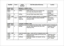 Shooting Schedule Sample Shooting Schedule Template 3 Schedule Templates