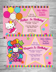 Hello Kitty Invitation Rainbow Hello Kitty Digital Birthday Invitation