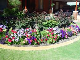 garden flowers. A Small Garden With Perennial Flowers Surrounded By Annual X