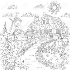 農村風景のぬりえ本農家風車井戸メール ボックスウサギ鳥ブドウの木落書きと Zentangle
