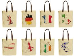the flags of cities beige printed canvas tote bags leather handles was 30 1 of 1free
