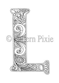 Adult Colouring Page Alphabet Letter L Products Lettering