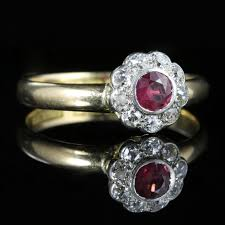 antique ruby diamond enement ring 18ct gold dated chester 1903