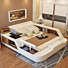 luxury king size bedroom furniture sets. Luxury Bedroom Furniture Sets Modern Leather King Size Double Bed With Storage Bookcase Cabinets Tail