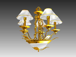 3d model of 5 arm antique brass chandelier light fixture available 3d object format 3ds 3d studio max 3ds max scanline render dwg autocad drawing