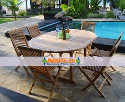 outdoor furniture sets round extending table and teak folding chairs for 6 persons