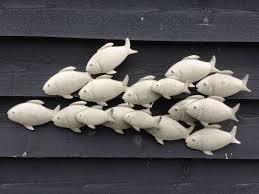 3d metal fish wall art decor vintage grey