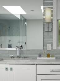 White Glass Bathroom Tiles Gray Linear Backsplash Vanity Inside Modern Design