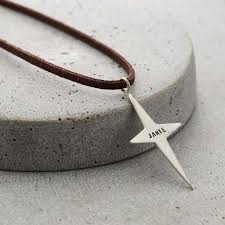 personalised men s north star necklace with leather cord