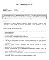 Administrative Assistant Description Resumes 7 Senior Administrative Assistant Resume Templates Pdf