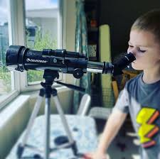 Celestron - Hillary Craig (@capture.create.explore) uses her Travel Scope  50 telescope as a tool in homeschoolings. During the day we watch the bees  on our neighbor's flowers and at night when the