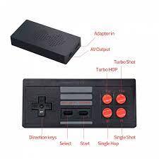 Bộ điều khiển trò chơi điện tử 4 nút máy chơi game cầm tay không dây mini  tích hợp 620 trò chơi 8 bit đầu ra AV