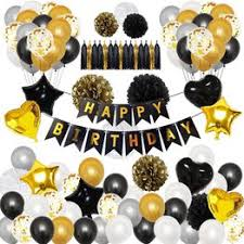 Birthday Party Decorations Set Black Gold Happy Birthday ... - Vova