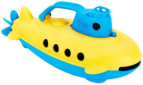 eco submarine yellow and blue green bath toy green toys