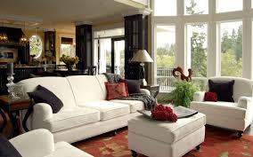 White Living Room Set For Cozy Brown Living Room Set With Decorative Chandelier Also Padded