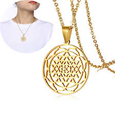 details about new gold gold sri yantra sri chakra geometry pendant necklace mother s day gift