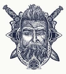 Nálepka Vikingské Tetování Vousatý Barbar Ze Skandinávie Zkřížené Meče