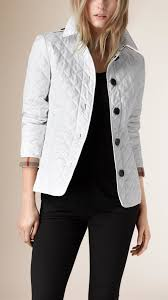 Burberry Diamond-Quilted Jacket in White | Lyst & Gallery. Women's Quilted Jackets Adamdwight.com