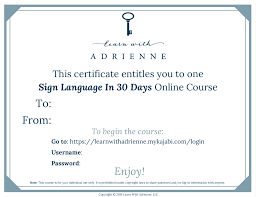Gift Certificate Sign Gift Certificate To Sign Language Online Course