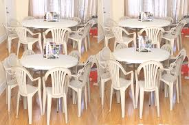 plastic stacking chairs and round table luxury party 19