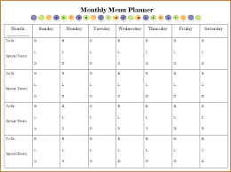 Monthly Meal Planner Printable Free Excel Calendar Templates Monthly Template Word Blank