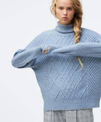 High neck <b>knitted pattern</b> jumper - Knitwear - Homewear | Oysho ...