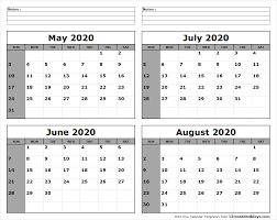 June July 2020 Calendar May June July August 2020 Calendar To Print All 12 Month