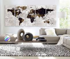 >xlarge 30 x 70 5 panels art canvas print watercolor map world push  xlarge 30 x 70 5 panels art canvas print watercolor map world push pin