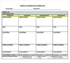 Blank Printable Weekly Lesson Plan Template Download Them Or Print