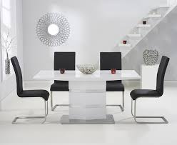 mark harris springfield white high gloss dining table and 4 malibu black chairs