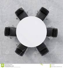 round table and chairs top view. Top View Of A Conference Room. White Round Table And Six Chairs Around. Office Interior. 3D Rendering. O