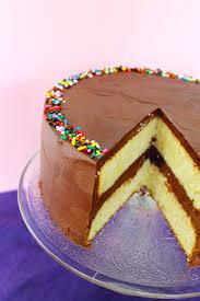 Yellow Birthday Cake With Fluffy Chocolate Ganache Frosting