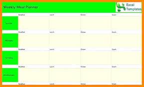 Excel Weekly Meal Planner Excel Meal Planner Monthly Meal Planner Template Excel Meal