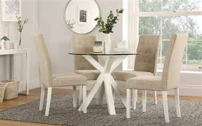 hatton round white wood and glass dining table with 4 regent oatmeal chairs