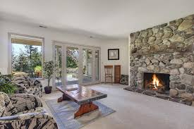 river rock fireplace surround