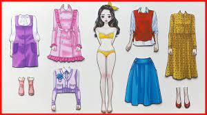 BÚP BÊ GIẤY & DÁN HÌNH VÁY ĐẦM GIÀY DÉP CÔNG CHÚA HÀN QUỐC - Paper doll  dress up sticker (Chim Xinh) - YouTube