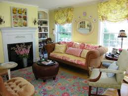 Living Room:Amusing French Country Cottage Living Room With Brown Sofa And  Round Brown Leather