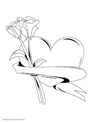 These coloring sheets will help your kids develop some important skills these rose coloring sheets will form the foundation for early learning success in your children. Printable Red Rose Coloring Page Flower Pages Heart Valentine Roses Tures Color And Print Sonic Amy Skull Easy Oguchionyewu