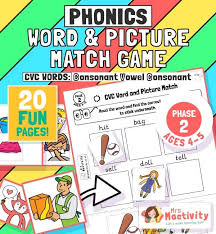 Phonics worksheets to support your child's learning and help them prepare for the year 1 phonics screening check. Phase 2 Age 4 5 Cvc Words And Picture Match Activity Mrs Mactivity
