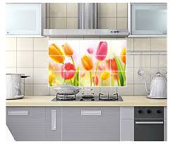 Mural Tiles For Kitchen Decor Tulip Flower Home Kitchen Decor Oil Proof High temperature 36