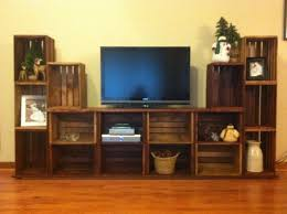 entertainment stand made from crates