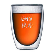 personalized engraved double wall beer glass drinking glass