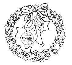 Small Picture Christmas wreath with bow and stars coloring pages for kids